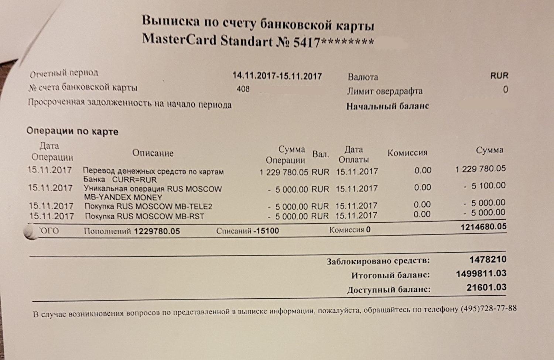 выписка по кредитной карте